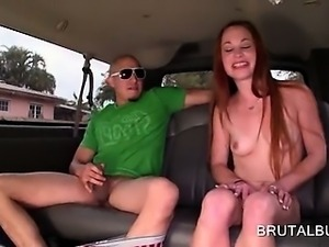 Teen nasty amateur blowing huge cock in the sex bus