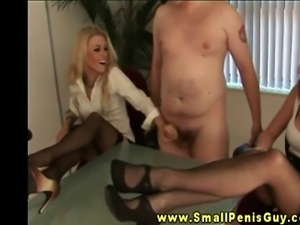 Small dick guy is getting teased by mature dominant sluts