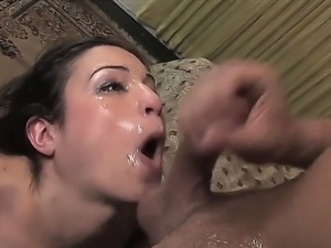 Young tempting brunette slut Amber Rayne with natural boobs and slim body in...
