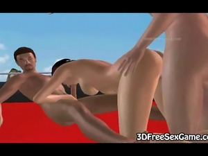 Mouth watering 3D cartoon brunette vixen getting her tight asshole fisted...