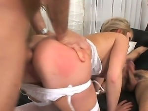 Omar Galanti and his friend are getting pretty turned on by this horny blonde...