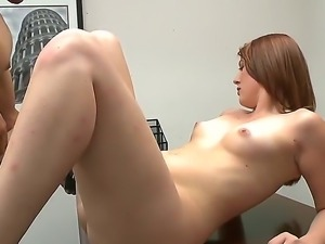 Tender red haired babe Cammie Fox gulps her lovers big, fat dick. She sucks...