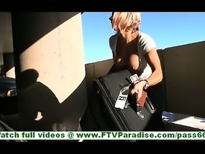 Anne incredibly hot blonde flashing big natural tits in public