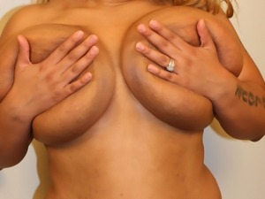 Gigantic loose tits make the young black guy happy