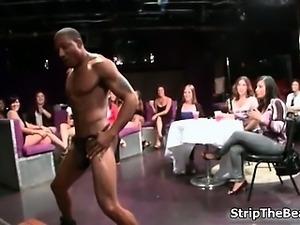 Sexy brunette babe sucks on an hard cock