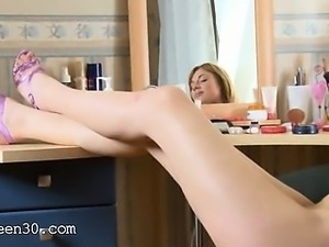 Pink dildo in her mouth and hairy vagina