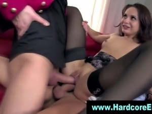 Euro babe gets ass creampie in hot dp loving threesome in hd