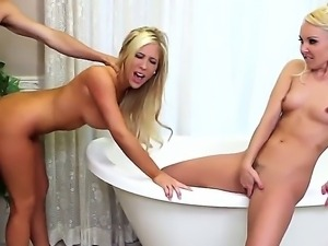 Sweet blonde chicks Aaliyah Love and Tasha Reign get together with a raunchy...