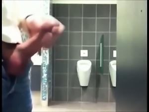 Hung Uncut Cock in Public Toilet