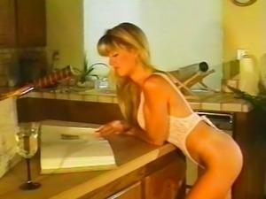 Vintage hunk fucks blonde in the kitchen