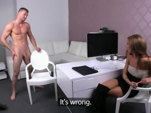 Muscle amateur dude fucking female agent on a desk