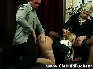 Clothed euro threesome hoes suck