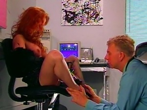 Spiked heels redhead slut lets him lick