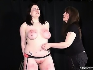 Amateur bdsm and extreme lesbian domination of chubby slave girl in hardcore...