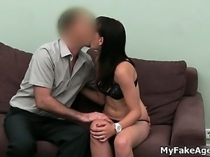 Horny dark haired bitch getting naked