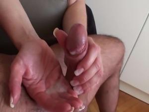 hot milf rubbing cock head and tickling balls