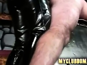 Two nasty dommes letting guy cum