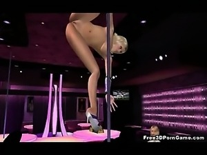 Hot 3D blonde stripper doing a steamy pole dance