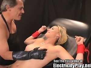 Blonde Bitch Bound and Electro SHOCKED!