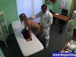 Horny doctor licks blonde patient pussy