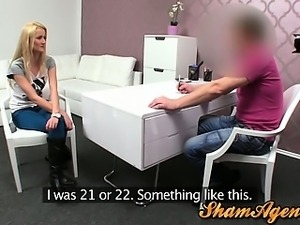 Blonde czech babe fucked in the office of a porn agent