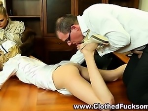 Clothed euro threesome leads to facial