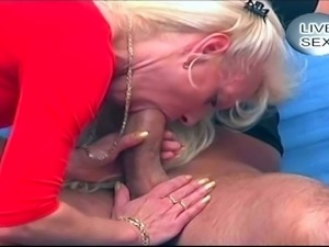 Blonde milf teaching young girl how to suck and fuck