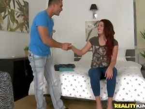 Emma Leigh is s cute young redhead chick that needs a pace to stay. She pulls...