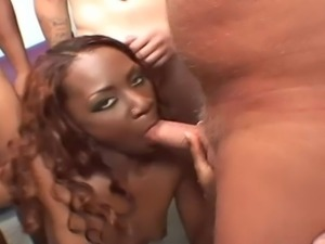 Dirty ebony bitch receives a lot of sperm on her face after sex