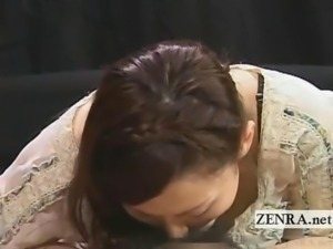 Subtitled CFNM pale Japan AV star handjob and blowjob