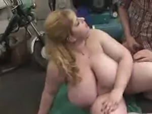 Plump mom with massive giant boobs & guy