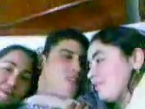 Arab Man kiss Two Arab (Egyptian) Girl in bed