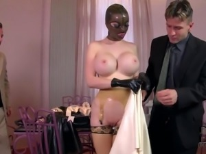 Kinky Submissive Latex Lucy Sucks and Fucks Two Huge Cocks