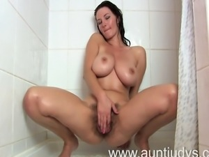 Mature full bush brunette Vanessa is getting herself ready to go out, she...