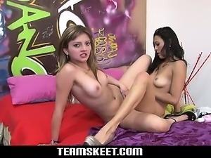 Stunning hot latina girls Carolina and Lilly pleasures