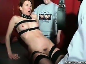 Kinky blonde slut with sexy body is tied and horny. She