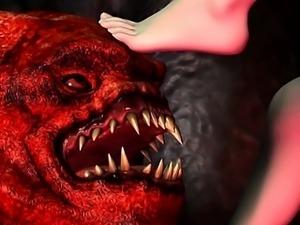 Girl fucks Demogorgon monster