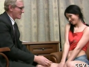 Sexy girl seduces an old man into sex