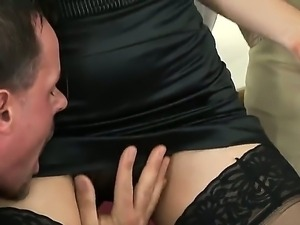 Examine threesome porn between blondie in black stockings and two perverted...