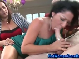 Real amateur busty cfnm party hotties love to eat stripper cock