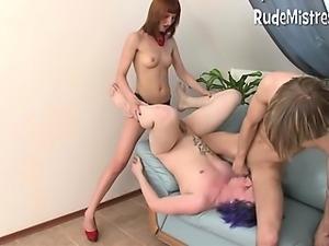 Dominant babe fucks bisex guys