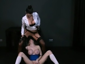 Huge tits blonde licks pussy of mistress in femdom