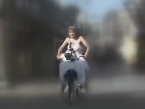 Japanese Women gets off on Bicycle Fucking Machine, then gets fucked,...