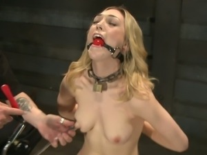 Kinky blonde bdsm toying session