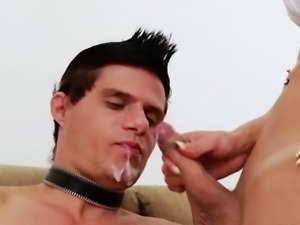 Two hot big juggs shemales took turns fucking dude