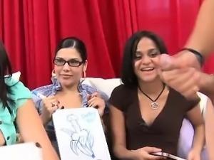 Nasty babes judge cock tugging