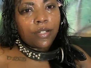 Dirty Black Ghetto Slut Choking During Face Fucking