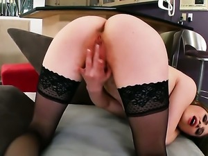 Alice March with tiny tities and bald twat takes toy up her pussy hole after...