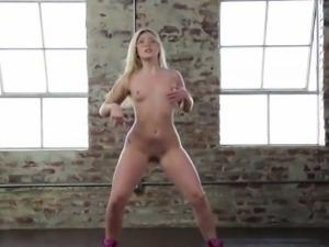 Hot blonde Aj in her first gang bang