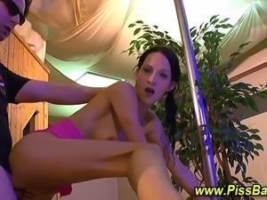 Golden shower piss drenching for fetish hoe during hard fuck